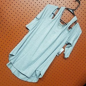 Exposed Shoulder Nice high low V Neck Tunic shirt